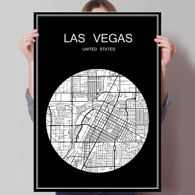 Abstract world city map print poster las vegas usa print on paper or canvas wall sticker