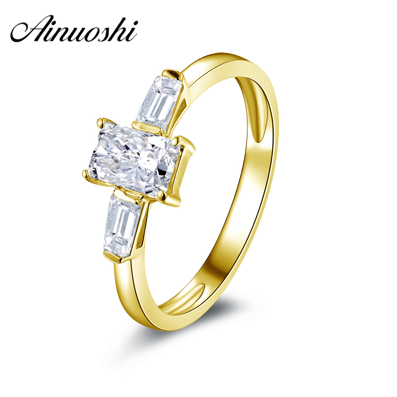 AINUOSHI 10k Solid Yellow Gold Women Wedding Ring Hot Rectangle Cut Simulated Diamond Jewelry NSCD Female Engagement Band Rings ainuoshi fashion oval cut yellow gold ring 10k solid gold wedding ring lab grown diamond women engagement rings top quality band
