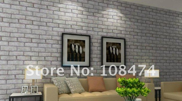 10m/lot Wall Decals(brick Grey Look) W1m Free Shipping Retail DIY Self