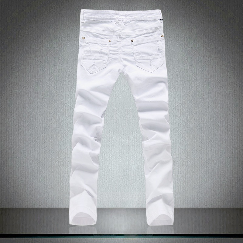 Size 28 36 High Quality White Jeans Men 2019 New Designer Solid Ripped Jeans for Men Casual Elastic Long Pants Denim Clothes