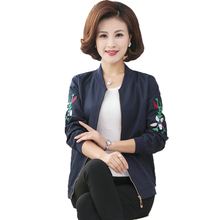 Chinese Woman Casual Bomber Jackets Wine Red Blue Coat Women Spring Autumn Coats Lady Flower Embroidery Short 5XL