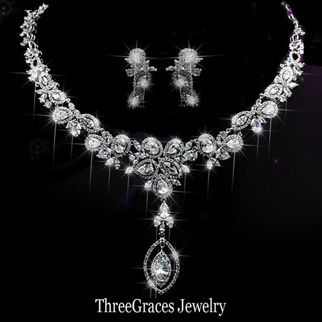 Joyería Oro Blanco Plateado Cubic Zirconia Pendientes de Novia Crystal europea Y Grandes Conjuntos de Collar Para La Boda Vestido de Noche JS064