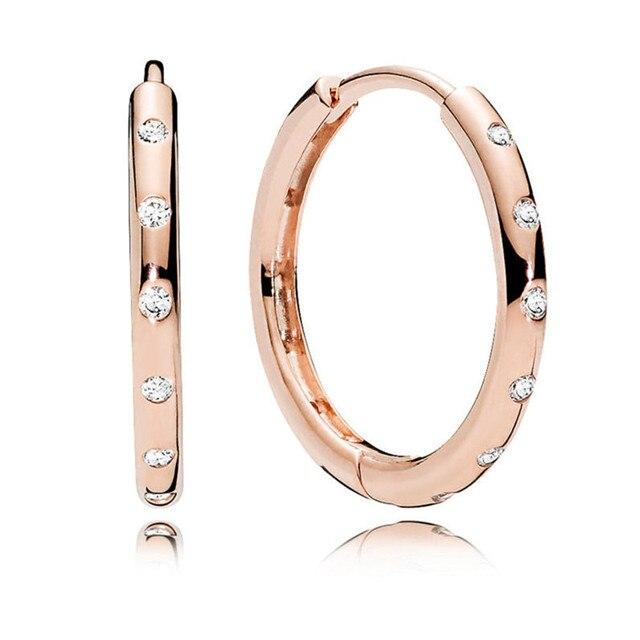 Thật thời trang Nữ Bạc 925 Pandora Bông Tai Dành Cho Nữ Hợp Thời Trang Hoa Hồng Vàng Giọt Nước Bông Tai Treo Tường Mỹ Châu Âu Trang Sức Ban Đầu