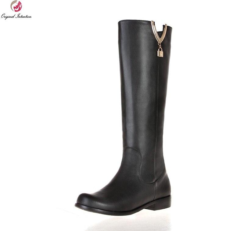 440d02355a330 القصد الأصلي جديد تصميم النساء الأحذية أزياء الركبة عالية جولة تو كعب مربع  الأحذية شعبية الأحذية السوداء امرأة لنا حجم 4-13