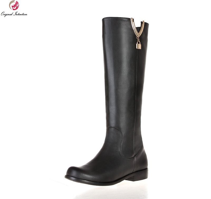 Original Intention New Design Women Knee High Boots Fashion Round Toe Square Heels Boots Popular Black Shoes Woman US Size 4-13 original intention nice fashion women knee high boots round toe square heels boots beautiful black shoes woman us size 3 5 13