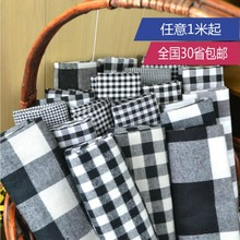 Customized 145cm width Black White Scotland lattice Tartan Plaid Cotton chiffon Cloth Fabric Shirt coat scarf