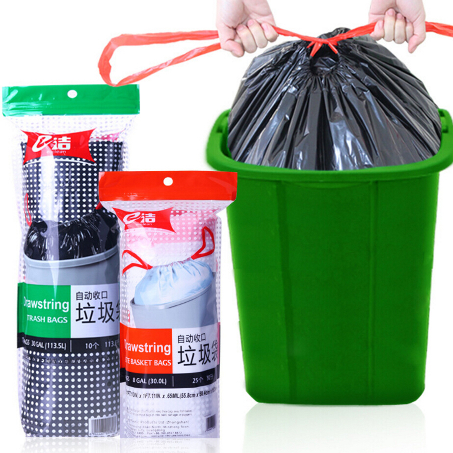 f9143d9018b3 Household Auotomatic Close Garbage Bags Drawstring Large Rubbish Waste  Trash Bags Strong Thickening PE Material Free Shipping