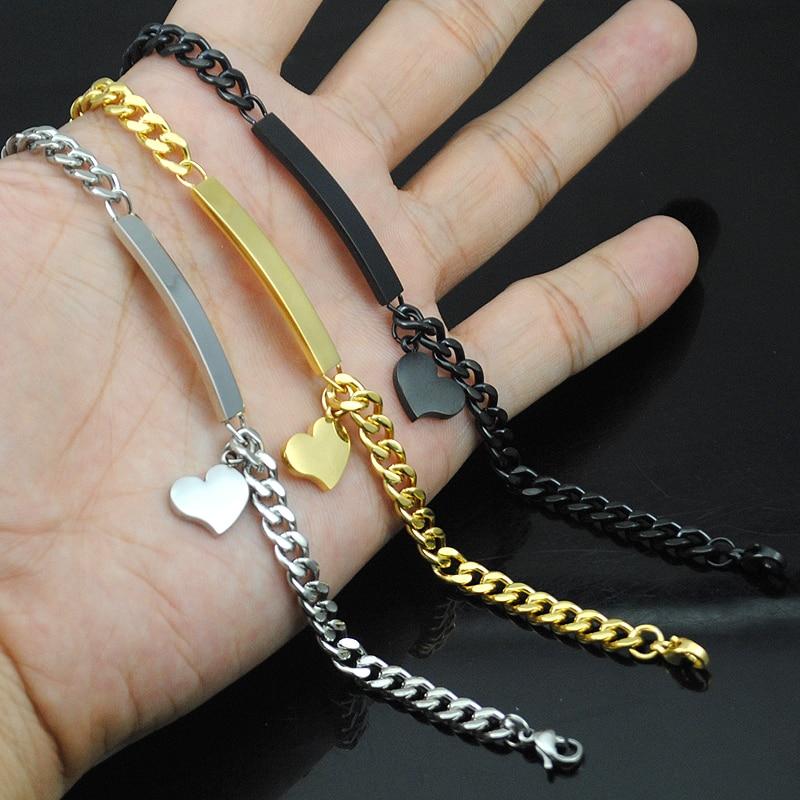 e55b49f29e39 20 cm * 5mm pulsera de identificación del corazón de las mujeres al por  mayor joyería de acero inoxidable mano para chicas amante oro plata negro  ...