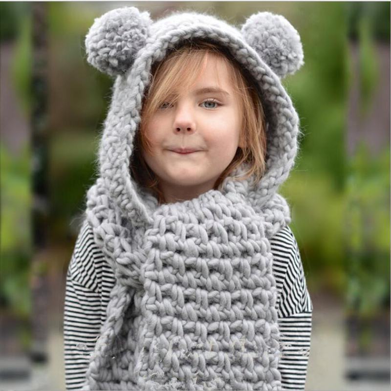 Sweet Girls Warm Knitted Fox Hat And Mitten Set Monochrome Beanie /& Gloves