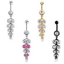 freeshipping 316L Steel Stainless Crystal Disco Surgical Rhinestone Pendant Belly Navel Button Ring Body Piercing for belly
