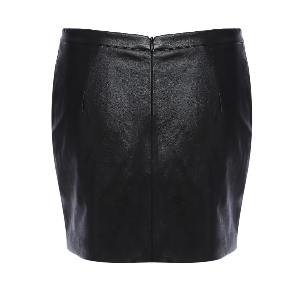 VESTLINDA Black Skirt Floral Embroidery Vintage PU Leather Pencil Skirt Women Slim High Waist Zipper Mini Ethic Plus Size Skirts 15