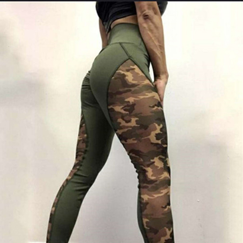 Patchwork Print Camouflage Leggings Women High Waist Sporting Fitness Leggings Sexy Push Up Pants Military Camo Leggings