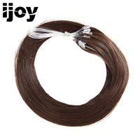 Dark Brown Remy Brazilian Straight Tip Hair Loop Micro Ring Human Hair Extensions Micro Bead Hair Piece 20 Pure Color #2 IJOY