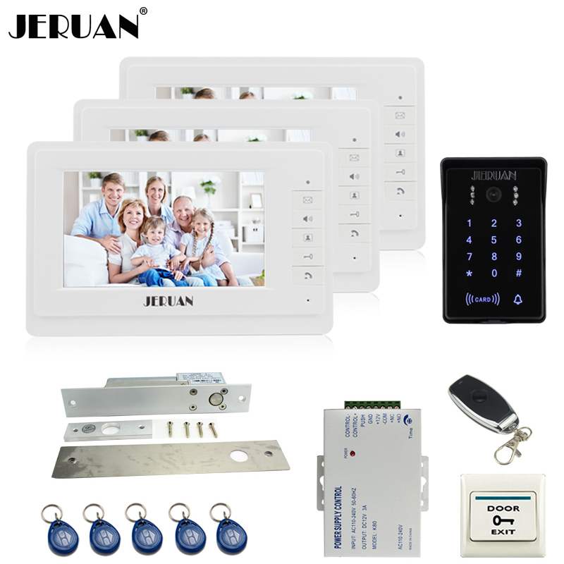 JERUAN Luxury 7`` video door phone intercom system Kit 3 monitor RFID waterproof Touch Key password keypad Camera Remote Control jeruan wired 7 touch key video doorphone intercom system kit waterproof touch key password keypad camera 180kg magnetic lock