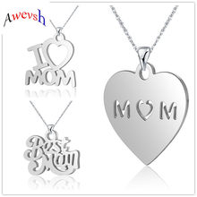 Awevsh fashion letter I love mom heart shape pendant stainless steel necklace Mother's Day gift high quality jewelry wholesale(China)