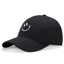 3D Embroidery Smile Pattern Baseball Caps Hats For Women Men Casual Solid Cotton Hat Cap Summer Dad Hat Black White Color 2018