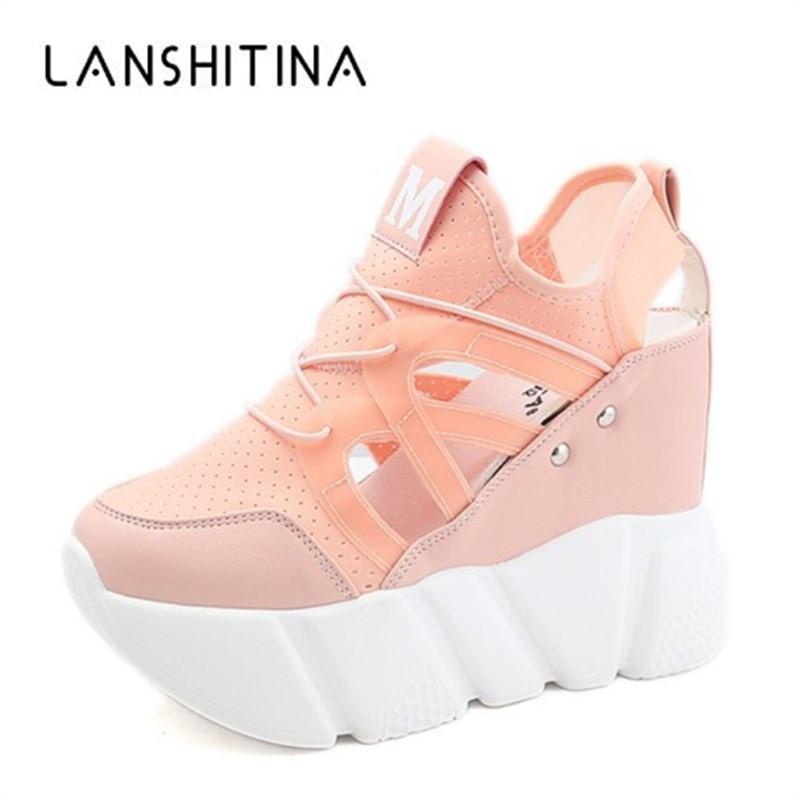 2019 New Summer Mesh Casual Shoes 10CM Heels Women's Height Increasing Platform Wedge Shoes Ladies Breathable Walking Sneakers