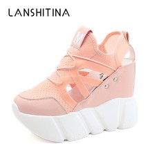 2019 New Summer Mesh Casual Shoes 10CM Heels Women's Height Increasing Platform Wedge Shoes Ladies Breathable Walking Sneakers 2018 new women height increasing sneakers spring summer platform wedge heel brand lady walking shoes red black white