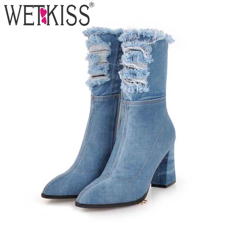 WETKISS Denim Thick High Heels Women Boots Holed Ankle Boot 2018 New Pointed Toe Lady Shoes Ripped Autumn Short Plush Footwear stylish mid waist cuffed denim ripped shorts for women