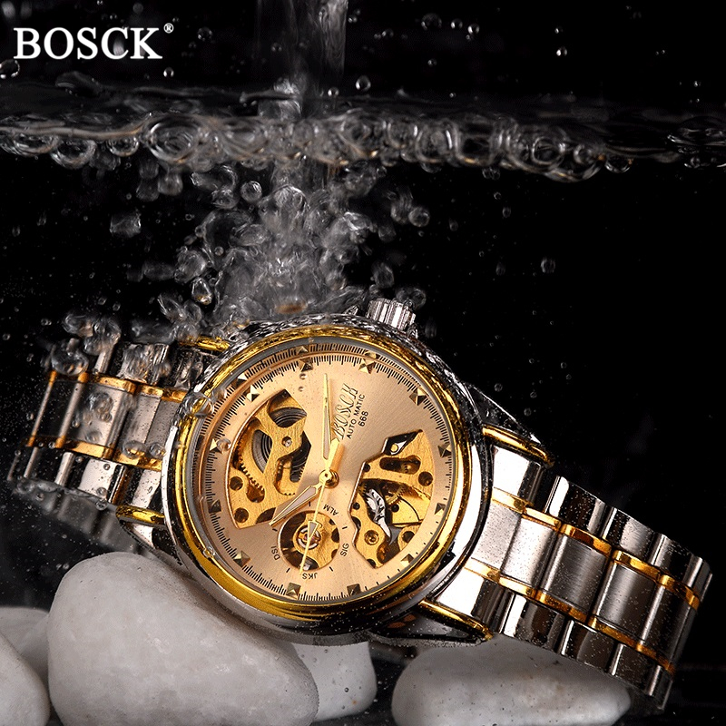 BOSCK Brand Golden Luxury Automatic Mechanical Men Watch Skeleton Dial Waterproof Self Winding Watches Gold Male Clock Self Wind mce brand men self wind waterproof leather strap automatic mechanical male black white dial fashion tourbillon watch men clock