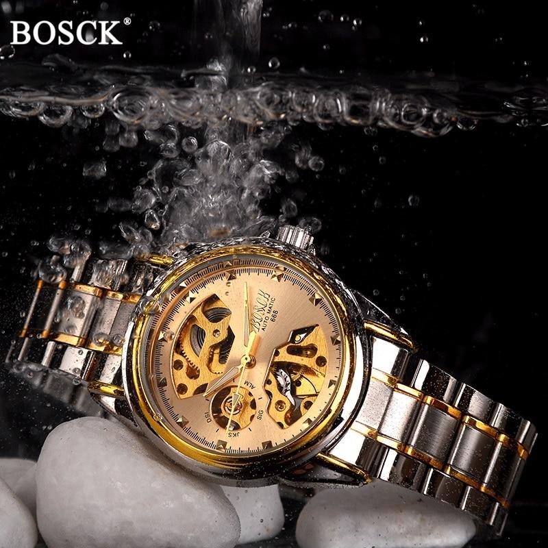 BOSCK Brand Golden Luxury Automatic Mechanical Men Watch Skeleton Dial Waterproof Self Winding Watches Gold Male Clock Self Wind