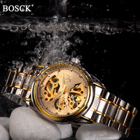 BOSCK Brand Golden Luxury Automatic Mechanical Men Watch Skeleton Dial Waterproof Self Winding Watches Gold Male