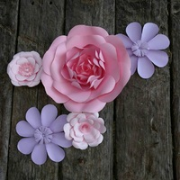 5 Giant Paper Flowers 20 - 40cm diameters in pink and pale purple for wedding decor or photo booth backdrop