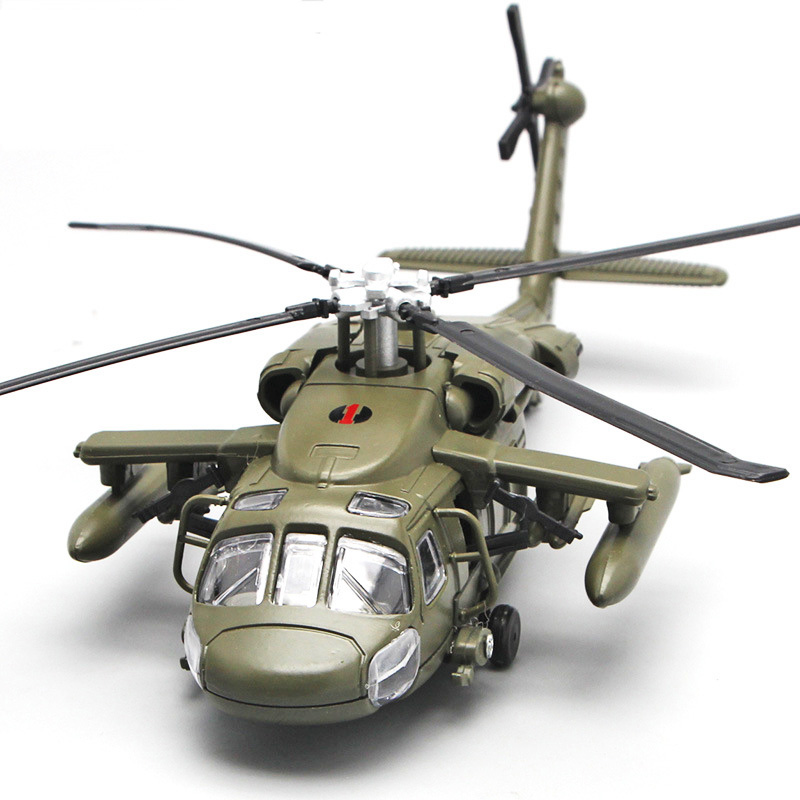 Alloy Diecast Black Hawk Armed Helicopter Military Fighter Model With Sound & Light Children Collection Graded Kids Toys