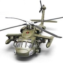 Legierung Diecast Schwarz Hawk Bewaffneten Hubschrauber Militär Kämpfer Modell Mit Sound & Licht Kinder Sammlung Abgestufte Kinder Spielzeug