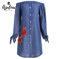 AZULINA Plus Size Women Clothing Winter 2017 Fashion Dresses Floral Applique Chambray Off Shoulder Casual Dress