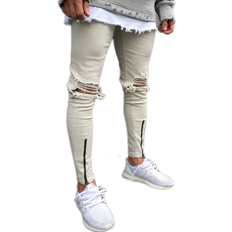 Joggingbroek Heren Skinny.Hi Straat Heren Skinny Jeans Retro Gewassen Schade Knieen Gaten