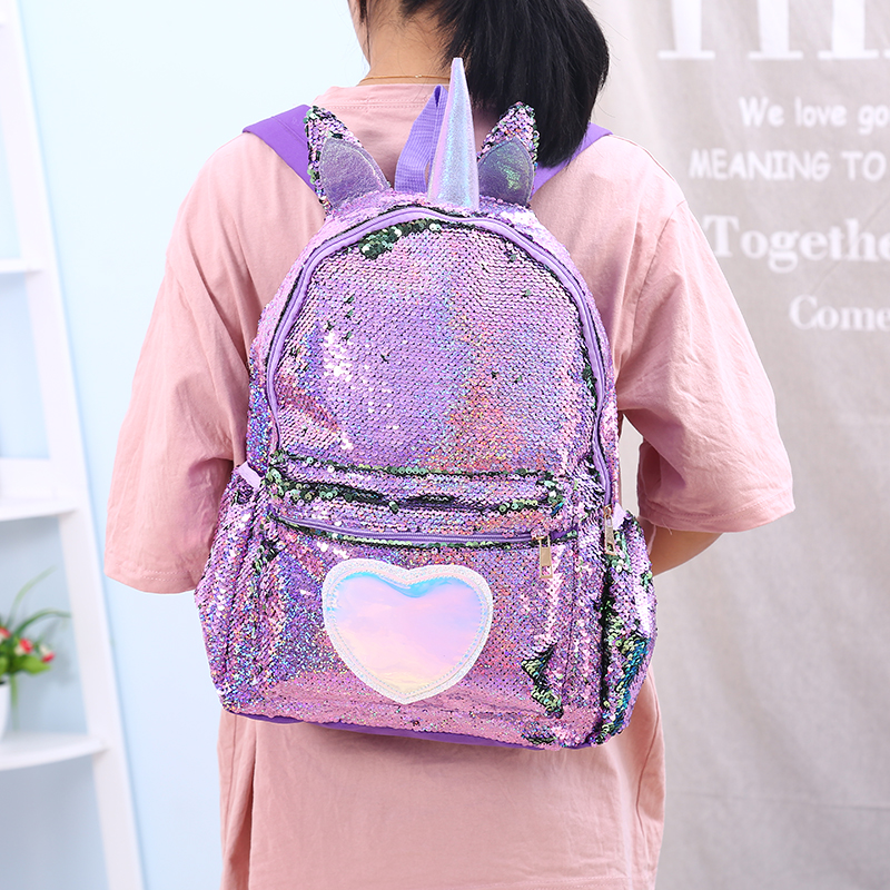 Large Sequins Unicorn Women Backpacks Hologram Heart Canvas Schoolbag For Teenager Girl Zipper Travel Back Packs Mochilas