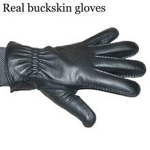 2018 winter new Mens true deerskin gloves Coral Fleece warm buckskin Excellent quality mittens black color Genuine leather