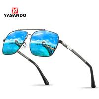 Polarized Sunglasses Men Memory Frame YASANDO Classic Pilot Mirror Lens Outdoor Driving UV400 Male Eyewear XY118 with box