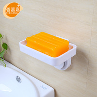 BEEGAGA Wall Mounted Waterproof Suction Cup Soap Container Bathroom White Plastic Soap Dish Holder