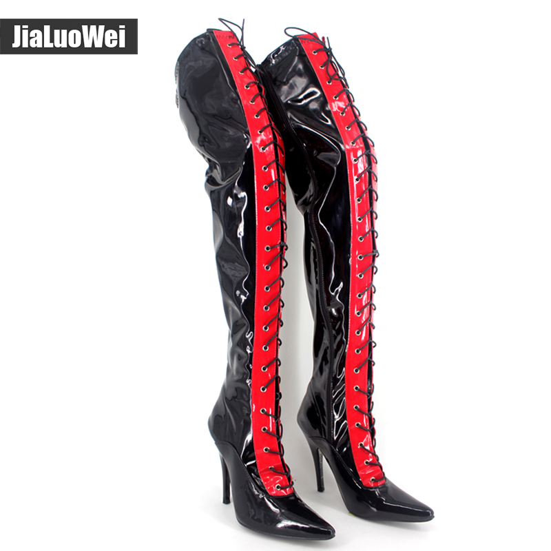Jialuowei Womens Sexy Fashion Thin Heel High-heeled Lace up Shoes Pointed Toe stiletto Leather Over-the-knee thigh High Boots