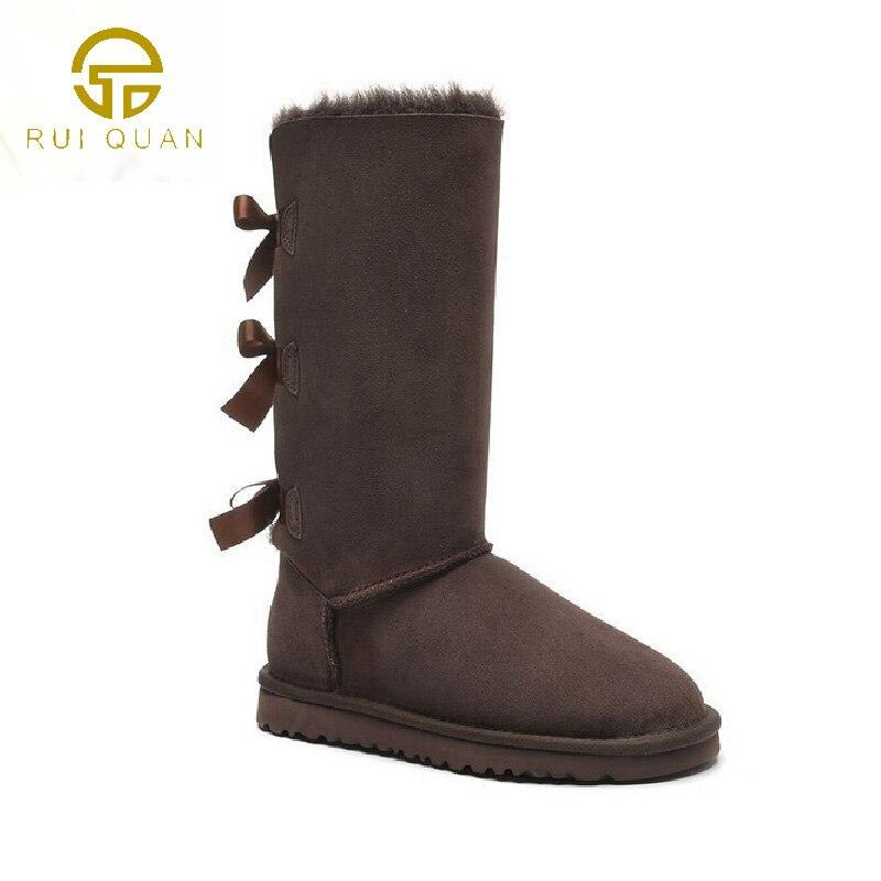 Высокие сапоги до колена 3 Луки зимние ботинки женские из натуральной коровьей кожи с бантом сзади каштан женская обувь на шнуровке Последн... ...