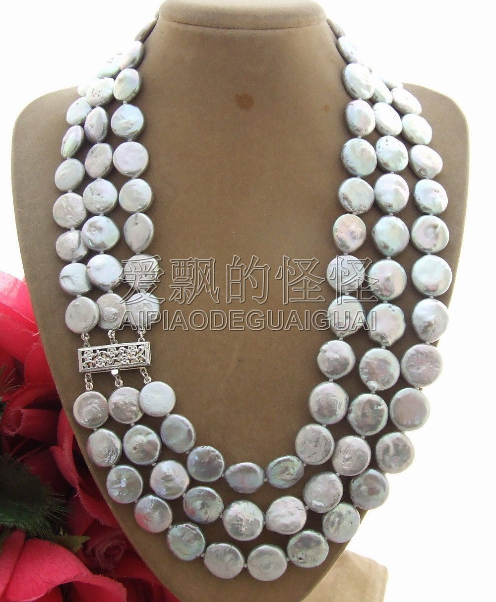 N011609 14MM 3Strands Gray Coin Pearl Necklace