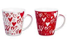 Набор кружек Elan gallery, Сердца на белом и красном, 2 предмета