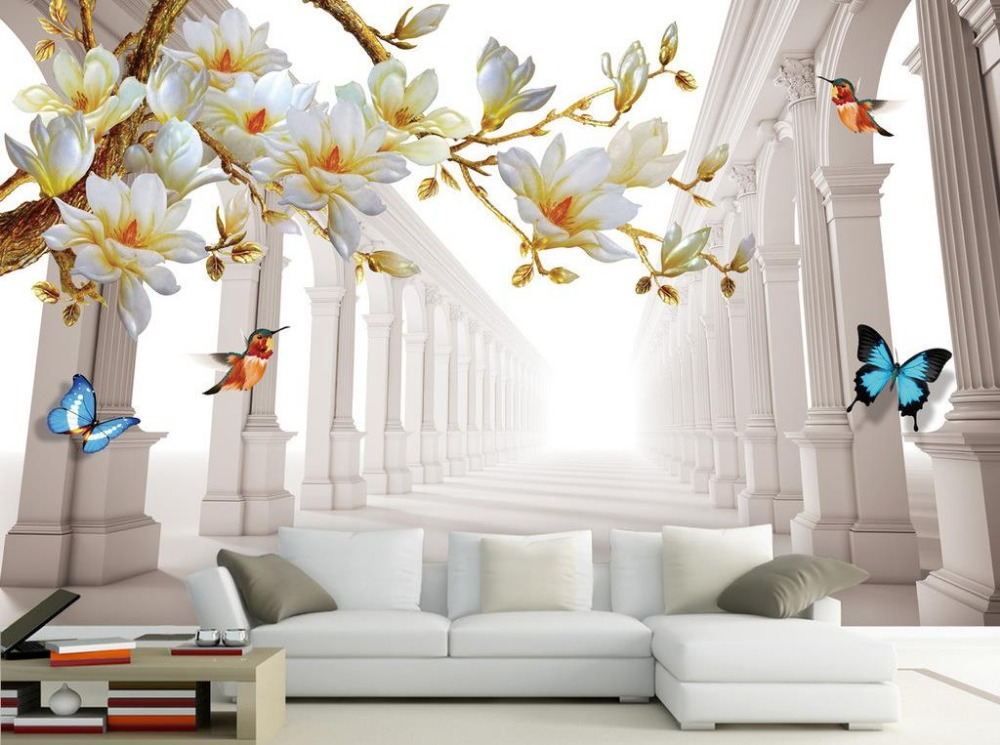 Fashion magnolia space backdrop 3d wall murals wallpaper - Flower wallpaper mural ...