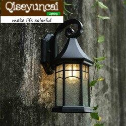 Qiseyuncai europejski styl lekko rozkloszowanym wodoodporny zewnętrzny led aluminiowy kinkiet retro amerykański dziedziniec lampy w Wewnętrzne kinkiety LED od Lampy i oświetlenie na
