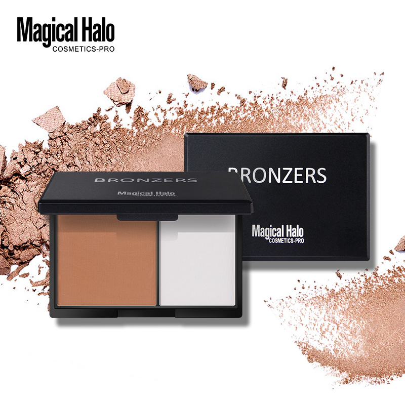 Magical Halo 2 Colors Contouring Palette Highlighter Bronzer Powder Makeup Shading Powder 3D Face Makeup Base Powder with Mirror