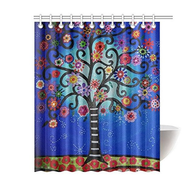 60Width X 72Height Mexican Style Flower Tree Polyester Shower Curtain