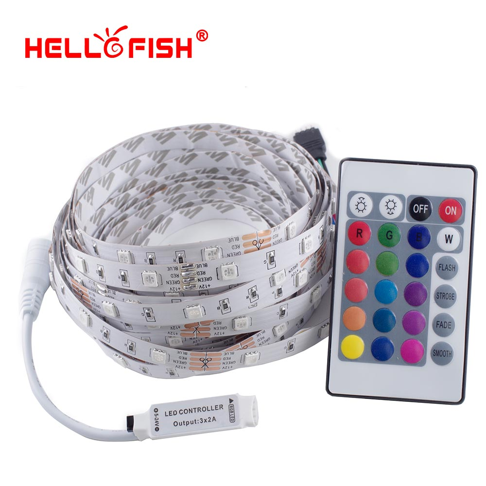Hello Fish 5M 12V 5050 RGB LED strip,150 LED tape +24/44 key remote controller Kit Flexible LED Tape kit 10m 5m 3528 5050 rgb led strip light non waterproof led light 10m flexible rgb diode led tape set remote control power adapter