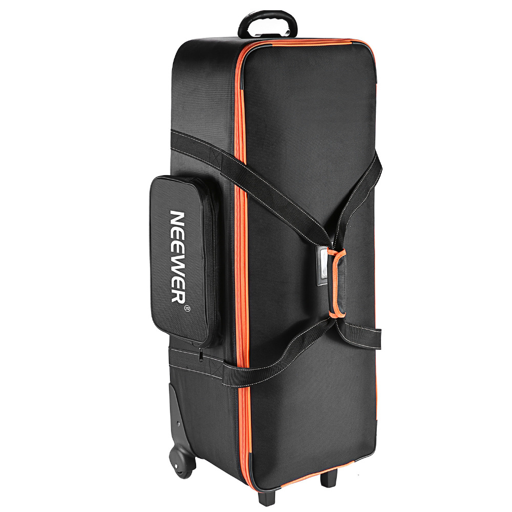 Neewer Camera Rolley Carry Bag Straps Padded Compartment Wheel For Light Stand Tripod Photo Studio Equipment