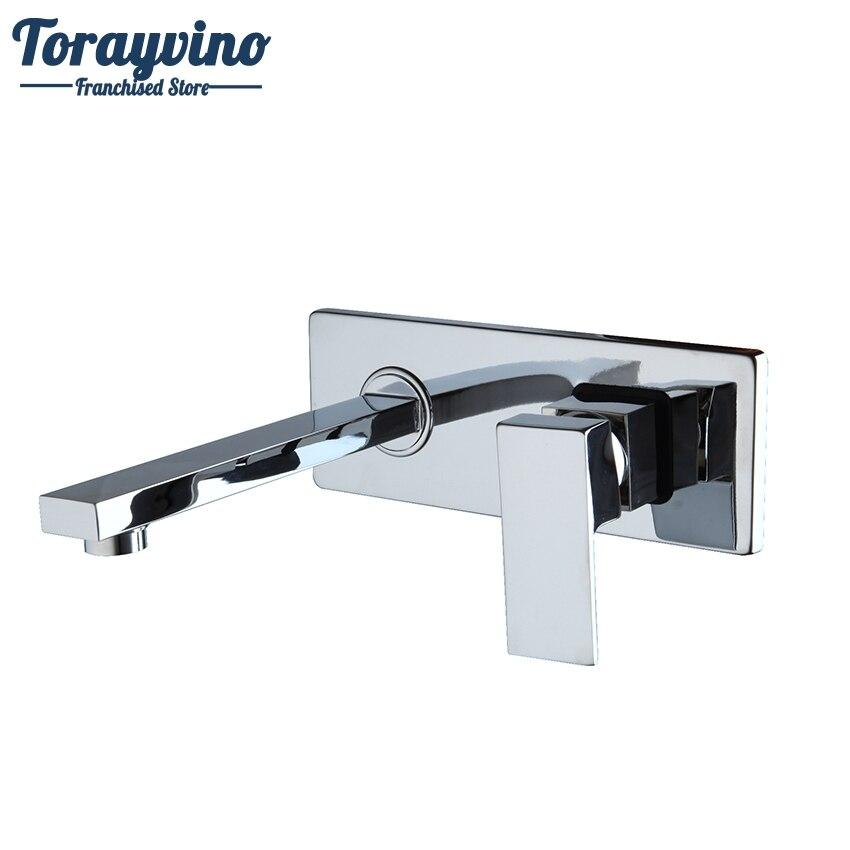 Torayvino Bathroom faucet Wall Mounted Polished Chrome Tap Bathroom Basin Sink Faucet Chrome Brass Finish Hot&Cold Mixer torayvino tap bathroom shower faucet with chrome polished cold