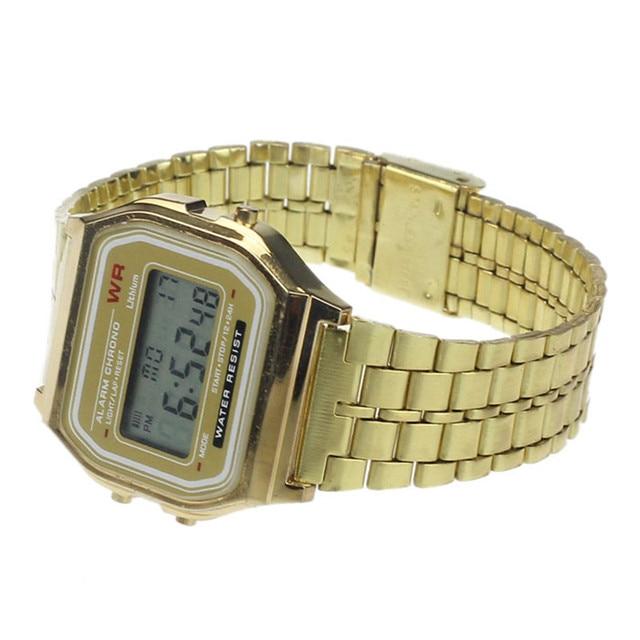Business Golden Gold Watch Coperation Vintage Womens Men Dress watch Stainless Steel Digital Alarm Stopwatch Wrist Watch #3