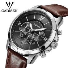 Мужские часы CADISEN Топ Горячие моды спорта бренда Роскошные кварцевые часы Мужчины Кожа Водонепроницаемые Военные наручные часы Relogio Masculino