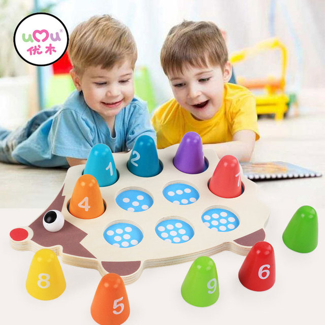 Baby Educational Wooden Montessori Toys Cartoon Hedgehog Learning Colorful Number Matching Math Toys For Children UJ2666H