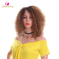 Golden Beauty 14 inches Kinky Curly Afro Wigs Side Part Natural Ombre Synthetic Hair Lace Front Wig for African Women